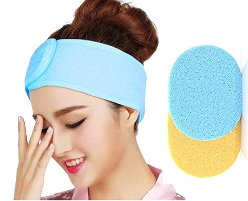 ayushicreationa 2 PCS Face Cleaning Sponge with Headband Face Cleaning Makeup Remover Facial Sponges Soft Pad Puff