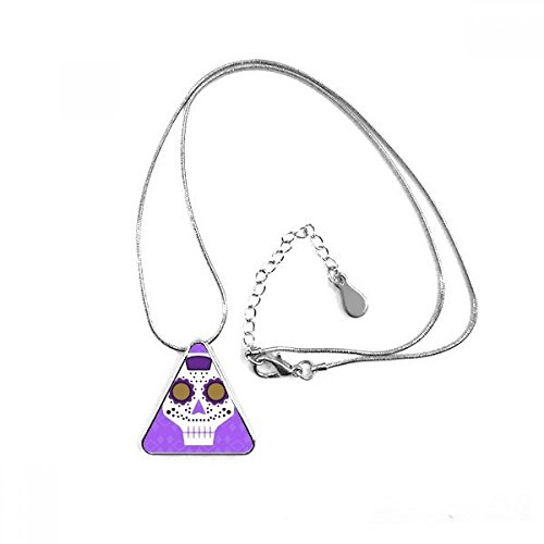 Flower-shaped Purple Eyes Skull Mexico National Culture Illustration Triangle Shape Pendant Necklace Jewelry With Chain Decoration Gift - Mexico Men National Costume
