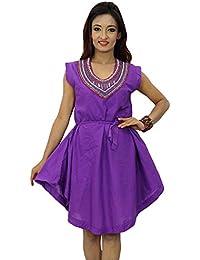 Rayon Fabric Dress Embroidered sleeveless Women Beach Wear Sundresses India