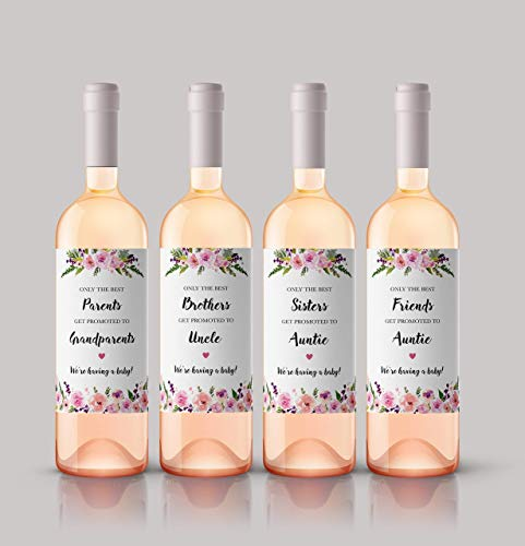 ● SET of 6 ● FAMILY & FRIENDS Pregnancy Announcement Wine Labels: 2 PARENTS Get Promoted to GRANDPARENTS Labels + 1 SISTERS to AUNTIE + 1 BROTHERS to UNCLE + 2 FRIENDS to AUNTIE Labels, A140-2PSBF1-WL (The Best Parents Get Promoted To Grandparents Wine Label)