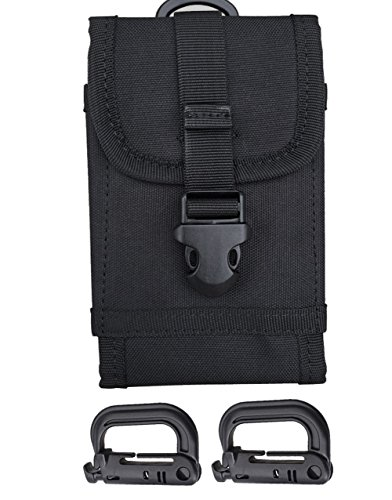 Carlebben Large Capacity 1000D Nylon Duty Tactical molle Universal Compatible Multipurpose Smartphone Holster EDC Carry Accessory Pouch Case Waist Pack Bag For Cell Phone (Black)