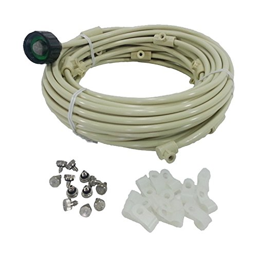 Patio Misting Kit - Pre- Assembled Misting System - Cools temperatures by up to 30 degrees - Brass/Stainless Steel Misting Nozzles - For Patio, Pool and Play areas(60ft - 16 Nozzles) by Mistcooling