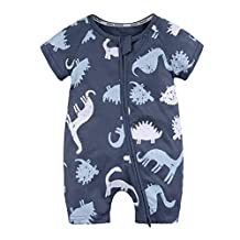 OSAYES Boys Girls Rompers, 0-24M Toddler Born Baby Dinosaur Jumpsuit Outfits Short Clothes with Zipper (6M, Navy)