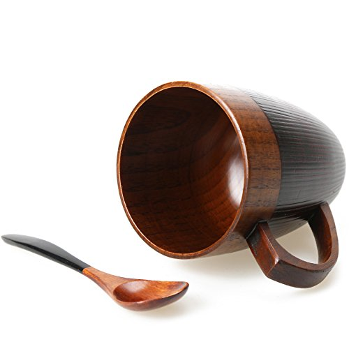 Cool Coffee Mug, Handmade Wood Coffee/Tea Cup 11 OZ with Spoon for Men/Women, Best Eco-friendly Wood Gifts(1, Black)