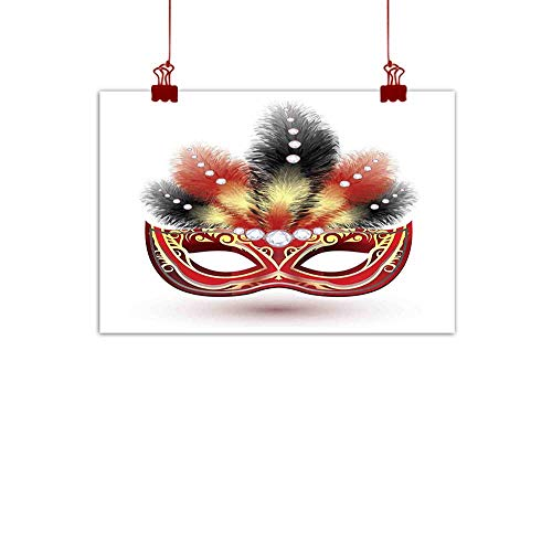 (Sunset glow Canvas Wall Art Masquerade,Party Mask with Feathers and Diamond Figures Traditional Festive Design,Black Red Yellow 24