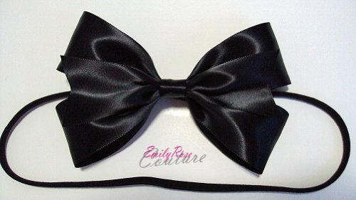 [Black Shiny Satin Alice in Wonderland Double Ribbon Hair Bow Headband] (Alice In Wonderland Hair)