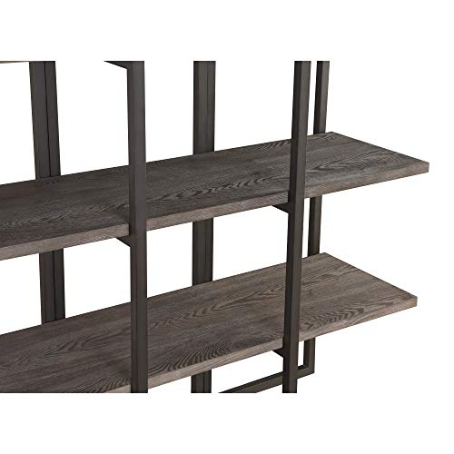 Zeke 60'' Bookcase in Rocky Mountain Gray with Four Wood Shelves And Metal Frame, by Artum Hill by Artum Hill (Image #3)