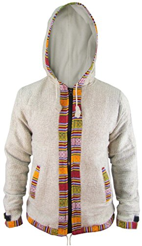 Etnica Nepalese Grey Cotone Rivestimento giacca Inverno Light Cappuccio In Kathmandu Uomo Con Little Ofal Pile Zip Stampa qax8Fnzwn