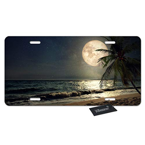 (WONDERTIFY License Plate Tropical Beach Palm Tree with Full Moon Starry Night Decorative Car Front License Plate,Vanity Tag,Metal Car Plate,Aluminum Novelty License Plate,6 X 12 Inch (4 Holes))