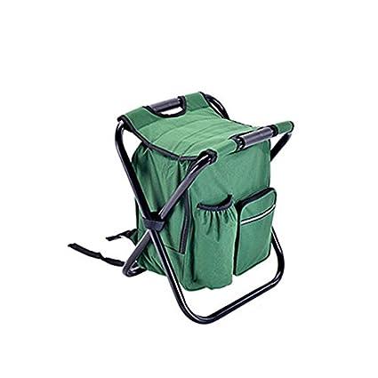 Cikuso Silla de Paquete Hielo Plegable de Camping al Aire Libre Silla de Pesca economica Robusta y Comoda Verde