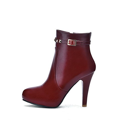Pointed Low Closed Top Soft Heels Women's Boots WeenFashion Toe High Red Zipper Material zgRIWwTq