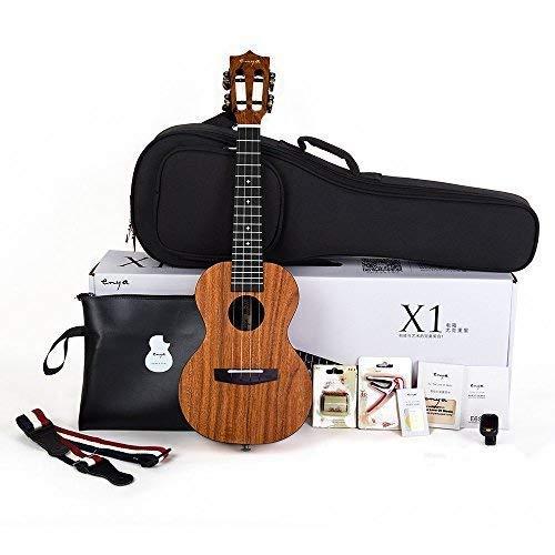 Enya Concert Ukulele 23 Inch,  Mahogany and  Ebony  With Starter Kit Includes Online Lessons, Case, Strap, Strings, Capo, Sand Shaker, Picks, Polish Cloth (EUC-X1)