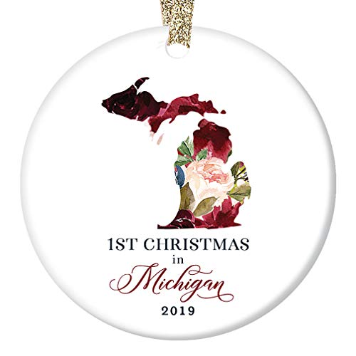 Christmas Holiday 2019 Ornament Ceramic Collectible Tree Decoration First 1st Year Moved to MICHIGAN U.S. Keepsake Present Family Friend Pretty Floral 3