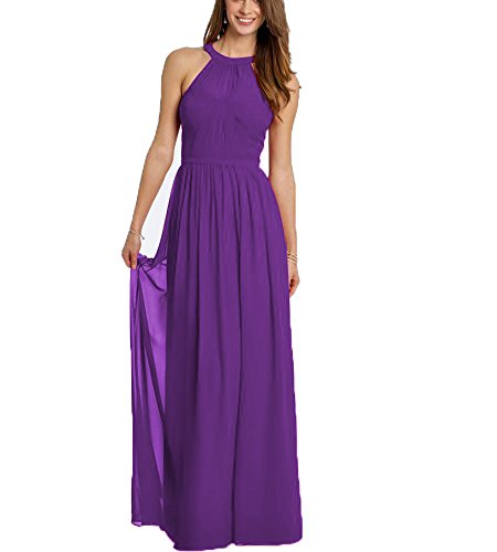 Beauty Bridal Halter Prom Gowns Elegant Chiffon Long Bridesmaid Dresses (16,As Picture)