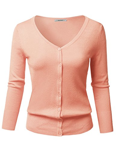 Solid Button Down V-Neck 3/4 Sleeves Knit Cardigan Peach S
