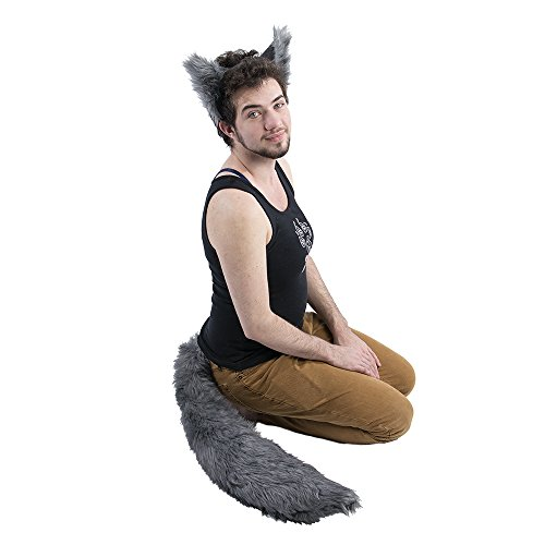 Pawstar Wolf Ear and Tail Costume Furry Combo - (Furry Costumes Wolf)
