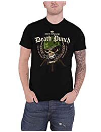 Five Finger Death Punch T Shirt War Head Band Logo New Official Mens Black
