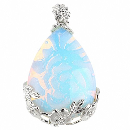 Inlaid Teardrop Gemstone Floral Flower Stone Pendant For Necklace (Opal Opalite)