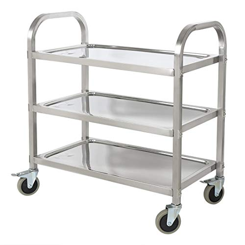 BestValue GO Stainless Steel 3-Tier Kitchen Trolley Kitchen Cart