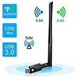 Acofit Wireless USB WiFi Adapter 1200Mbps Dual Band Wifi Dongle 2.4GHz 300Mbps 5GHz