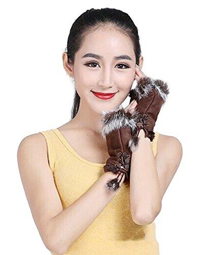 Women Faux Suede Rabbit Hair Winter Warm Wrist Fingerless Gloves Mittens