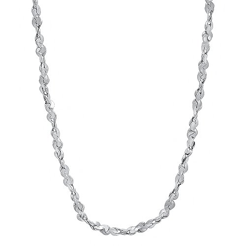 The Bling Factory 2.7 mm Rhodium Plated Twist Nugget Chain Necklace, 18