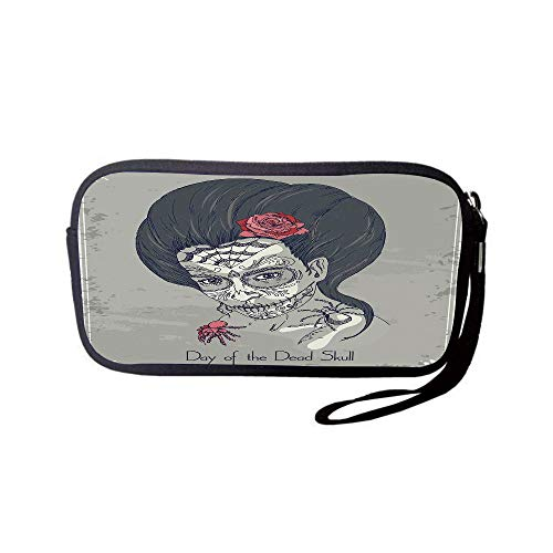 iPrint Neoprene Wristlet Wallet Bag,Coin Pouch,Day of The Dead Decor,Dia de Los Muertos Skull Girl with Roses Image Print,Charcoal Grey Dimgrey Pink,for Women and Kids -
