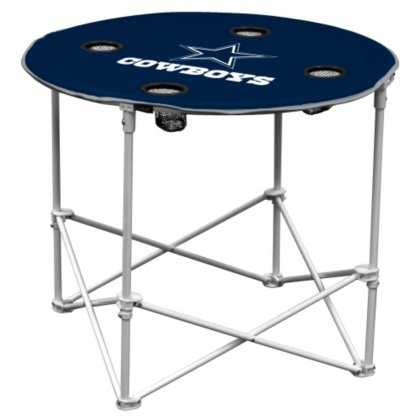 (Dallas Cowboys  Collapsible Round Table with 4 Cup Holders and Carry Bag)