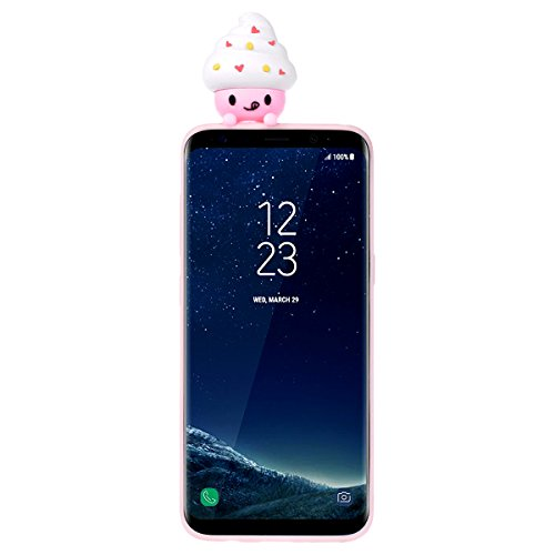 Funda Samsung S8, WE LOVE CASE Ultra Fina Slim Suave Funda Samsung Galaxy S8 Silicona Cubierta Clear Cover Original Flexible Gel Dibujos Anti Rasguños Choque con Diseño Protectora Resistente Funda Sam Ice Cream