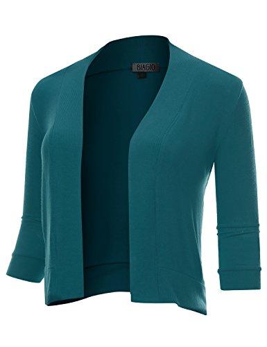 BIADANI Women Classic 3/4 Sleeve Crop Cardigan Teal Large