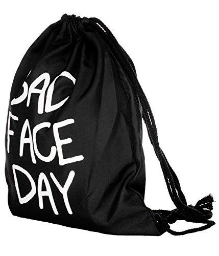 BetterStylz Jahn2 BAD FACE Turnbeutel Rucksack Sport Beutel Gymsack Hipster Tasche vers. Design (ca. 32 x 39 cm) (One Size/Einheitsgrösse, Schwarz/Bad Face) Schwarz/Bad Face