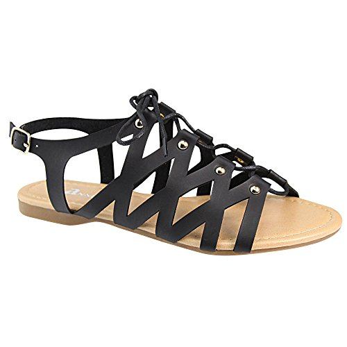 Bella Marie CHELSSI-10 Womens Lace Up Buckle Strap Gladiator Flat Sandals Black zfEnJt