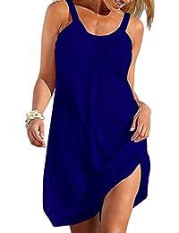 Women Summer Casual Loose Mini Dress Sleeveless Beach...