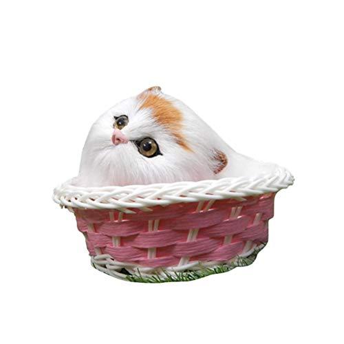 YeahiBaby Figura de Gato Juguete Peluche de Gato en Cesta con Sonido Decoraciones de Escritorio Regalo de Cumpleaños (Mini...