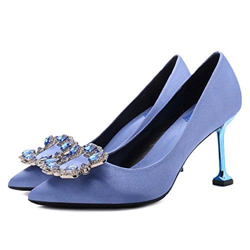 Mesdames été Mariée Fermée Orteil Strass Court Chaussures Femmes Mode Pompes à Talons Mariage Travail à Talons Hauts Blue