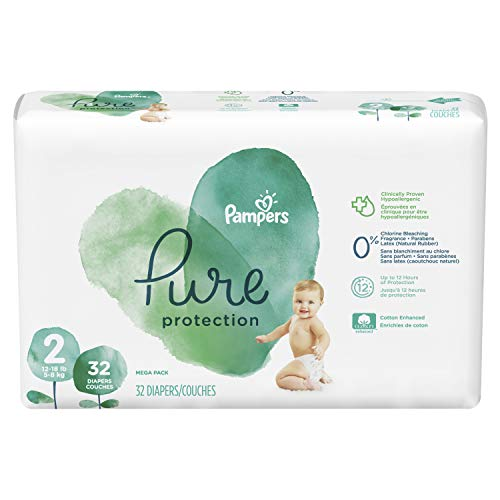 Diapers Size 2, 32 Count – Pampers Pure Protection Disposable Baby Diapers, Hypoallergenic and Unscented Protection, ONE Month Supply