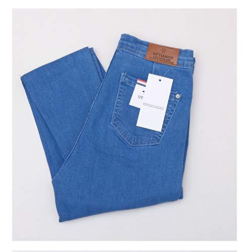 (Women Black Jeans Vintage High Waist Denim Women Spring Denim Pants High Elastic Blue M)