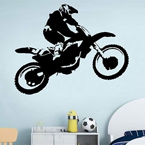 DIY Mural Vinyl Sticker Scrambler Motorcycle Dirt Bike Wall Decal Motocross Chopper Ride Children Guys Boys Bedroom 53x42cm