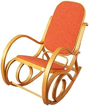 Sedia a dondolo M41 legno 90x50x90cm ~ quercia seduta tessuto marrone