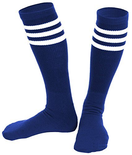 [Knee High Socks  Three Stripe Socks  Socks for Costumes  and Cosplay Made in USA, Royal / White, One size] (Girls Basketball Player Costume)