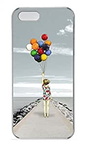Take Balloon Girl Customized Popular DIY Hard Back Case Cover For iPhone 5 5S Hard Transparent