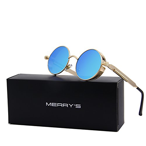 MERRY'S Gothic Steampunk Sunglasses for Women Men Round Lens Metal Frame S567(Gold&Blue, 46) (Steampunk Fashion Male)