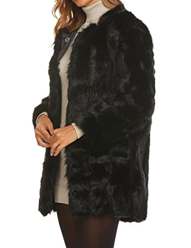 Soteer Women's Thick Outwear Winter Warm Long Faux Fur Coat Jackets Black XL by Soteer (Image #2)