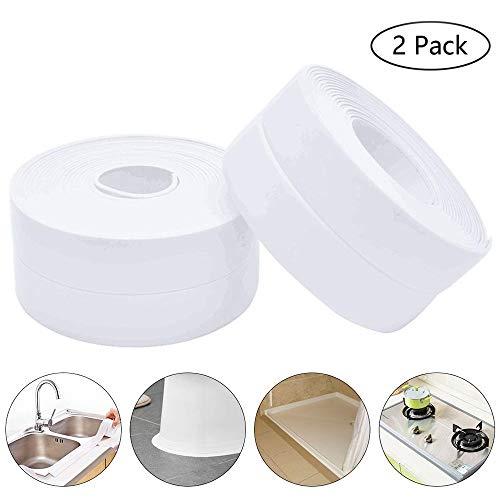 2 Pack Caulk Strip,Bathtub PE Sealing Tape Self Adhesive Sealant Caulk Tape Toilet Kitchen and Wall Sealing Strip Trim Waterproof 38mmx3.2m - Sealer Trim