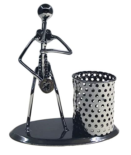 Photo Pen Holder (Retro Style Iron Art Crafts Music Man Figure Musician Statue With Personality Pen Container Holder Pencil Cup Pot Case For Secretary Students Office Home Desk Decor Gift (C78 Saxophone))