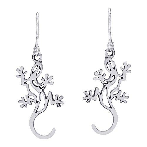 Tribal Gecko lizard Outline .925 Sterling Silver Dangle Earrings