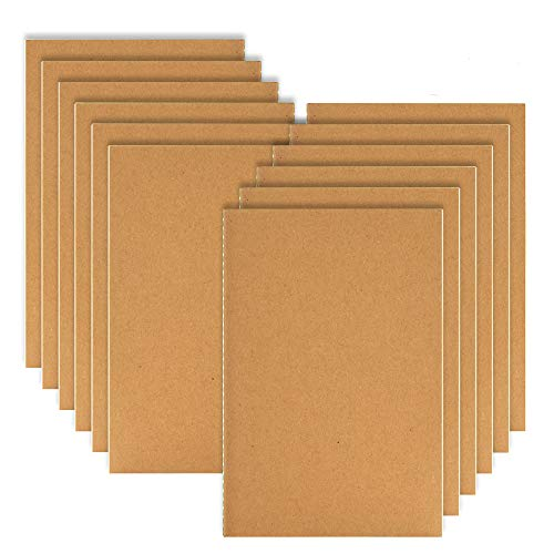 Coopay 12 Pack Journal Notebook Kraft Brown Cover Lined Notebooks for Travelers - A5 Size - 210 mm x 140 mm - 60 Lined Pages/ 30 -