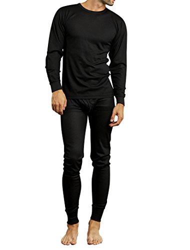 Unique Styles Mens 2-PC Thermal Underwear Set Waffle Knit Long Johns Top and Bottom (Small, Waffle- Black) (Pcs Unique)
