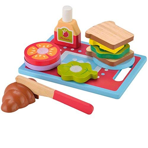 KIDS TOYLAND Wooden Sandwich-Making Set Play Food Set for Kids - Pretend Play Learning Educational Kitchen Toys Toddlers Breakfast Hand-Painted Wooden Pieces (13pcs)