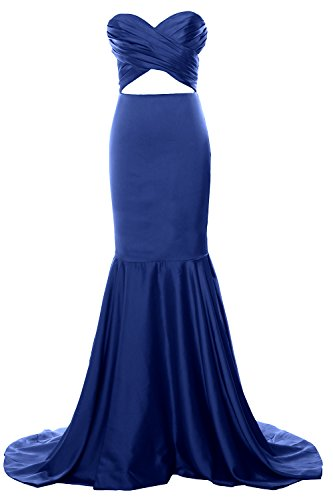 MACloth Women Mermaid Strapless Prom Dress Cut Out Wedding Formal Evening Gown Azul Real